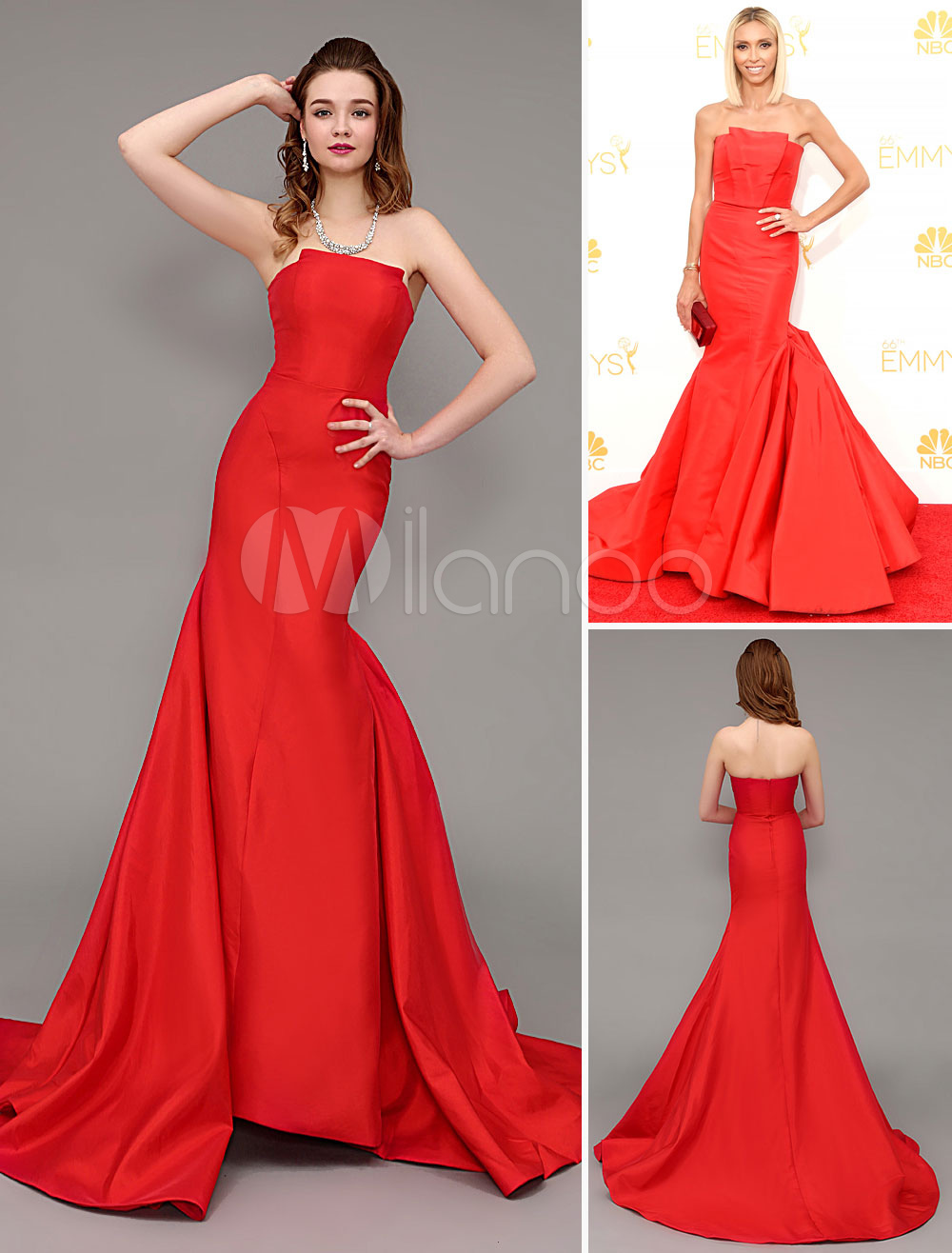 Red Strapless Sweep Celebrity Dress with Elastic Silk Like Satin (Wedding Emmy Awards Dresses) photo