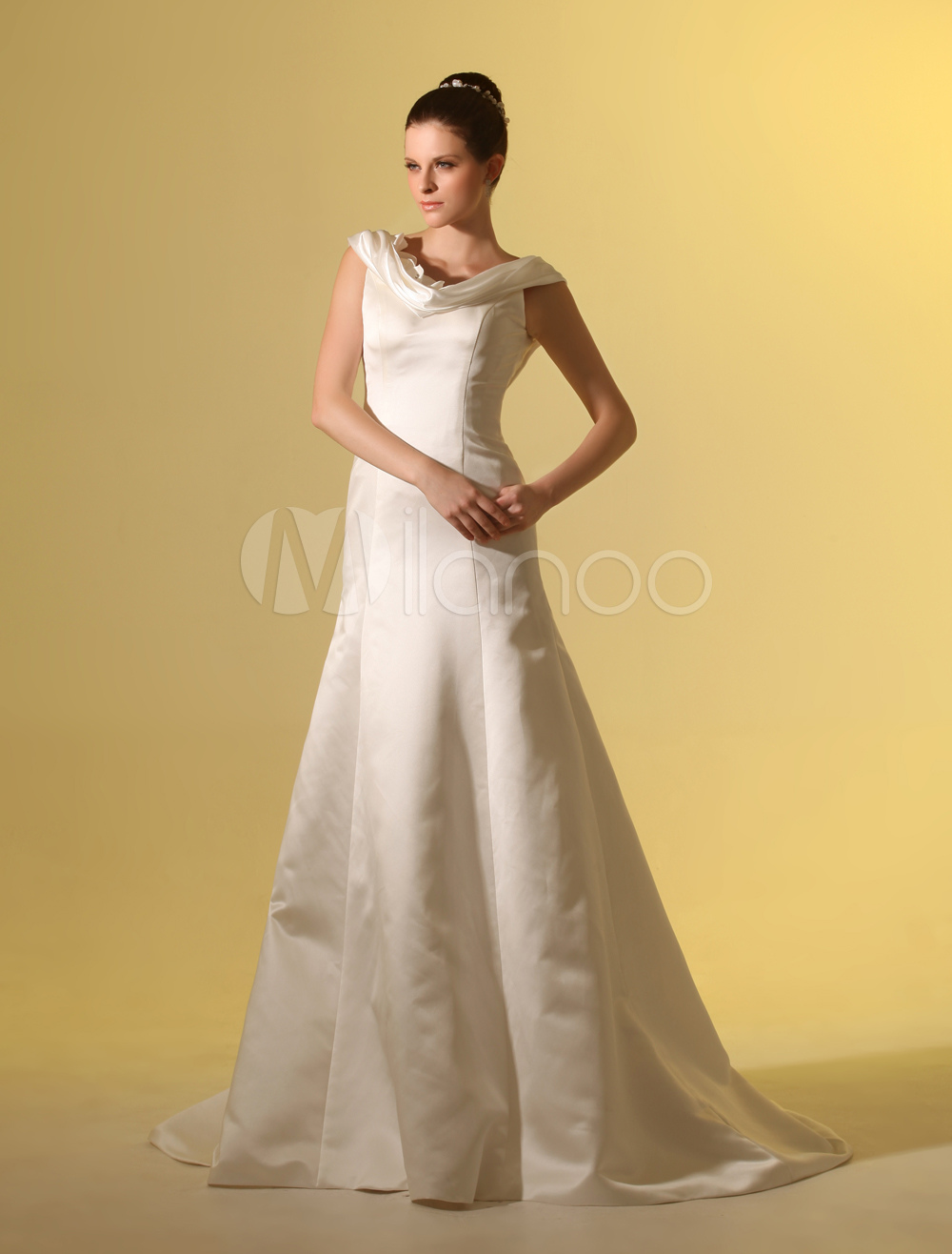 Beautiful ivory a line cowl neck flower satin wedding for Beautiful ivory wedding dresses