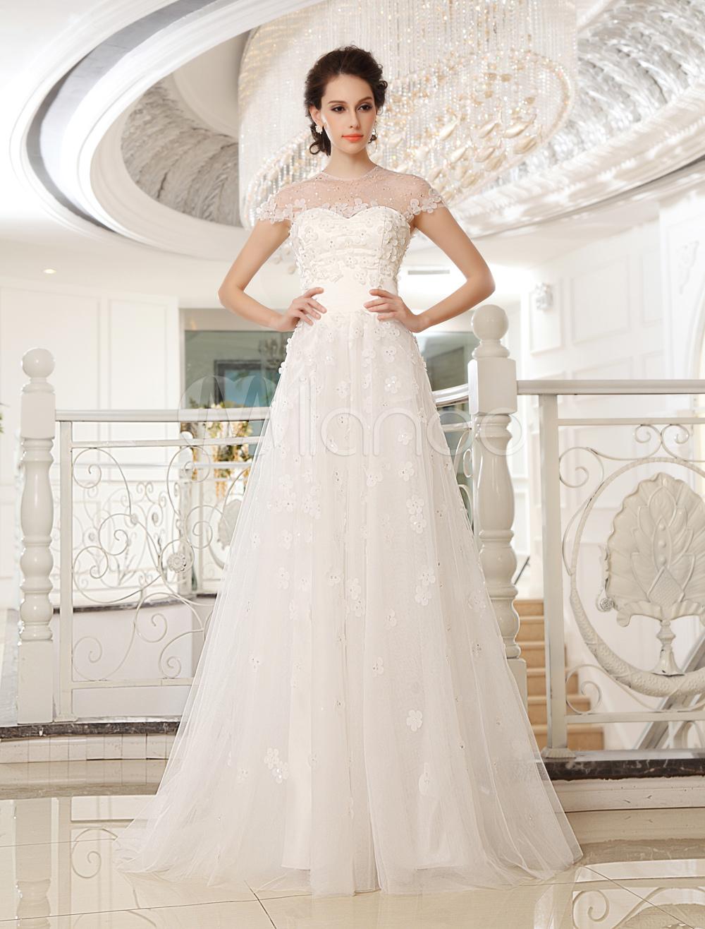 Sweep Ivory Jewel Neck A-line Strapless Sequin Wedding Dress For Bride Milanoo