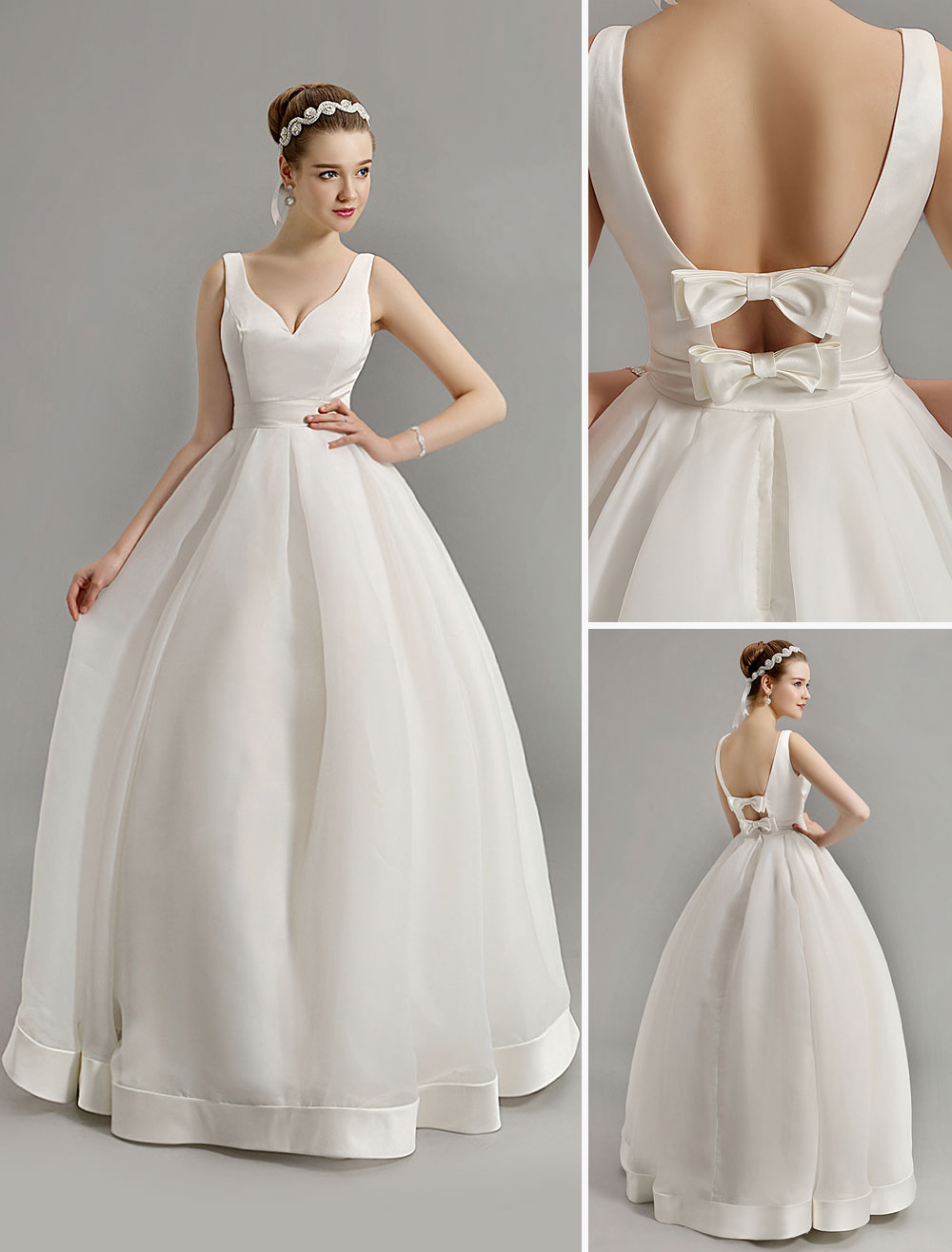 Vintage Inspired Plunge V Neck Wedding Gown With Bow Embellished Cut Out Back Milanoo