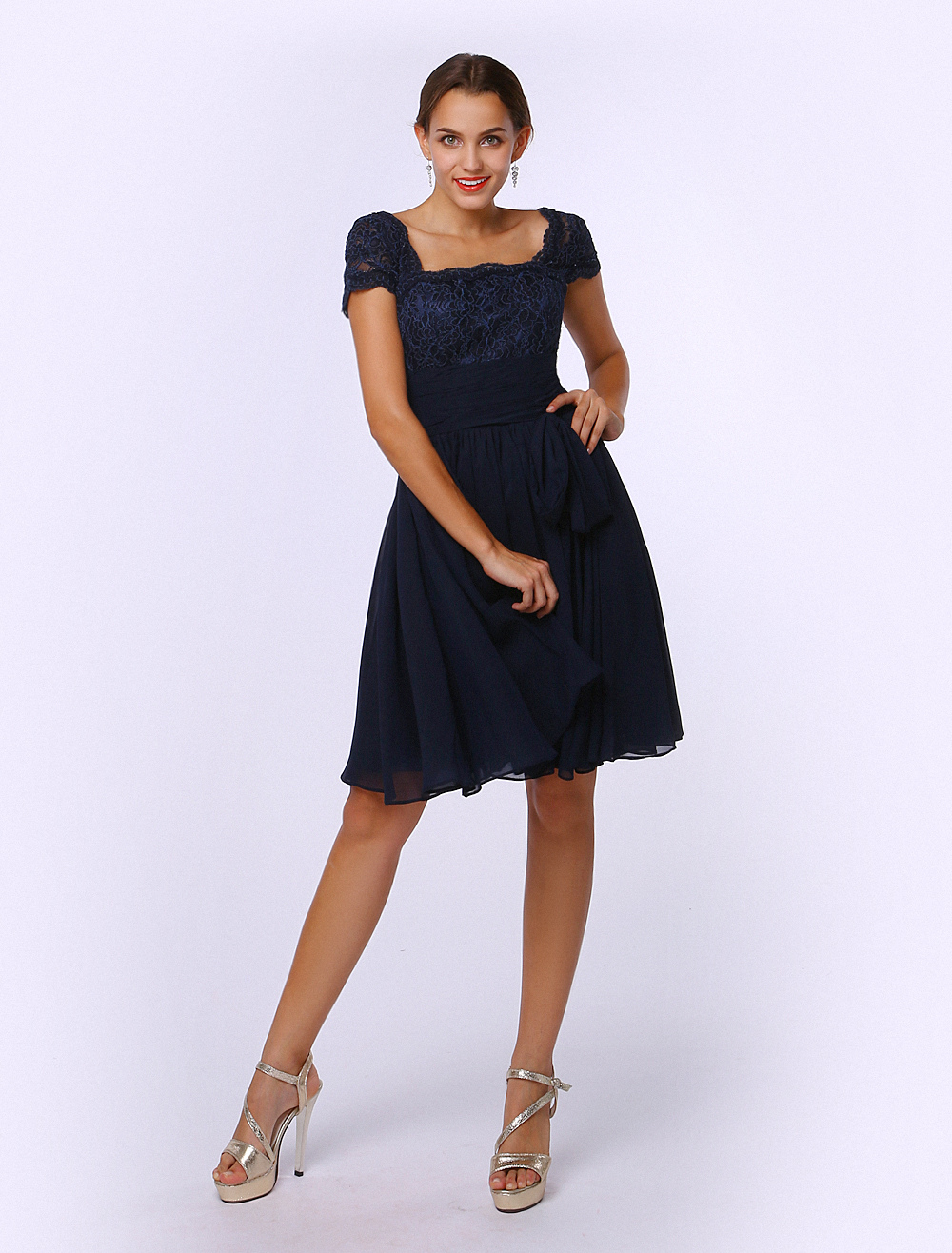Navy Mother of the Bride Dress A-Line Strapless Lace Dress Wedding Guest Dress photo