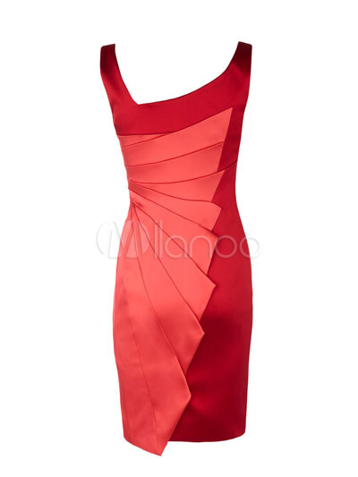 Modern Western Red Sleeveless Acetate Fiber Polyester Womens Dress ...