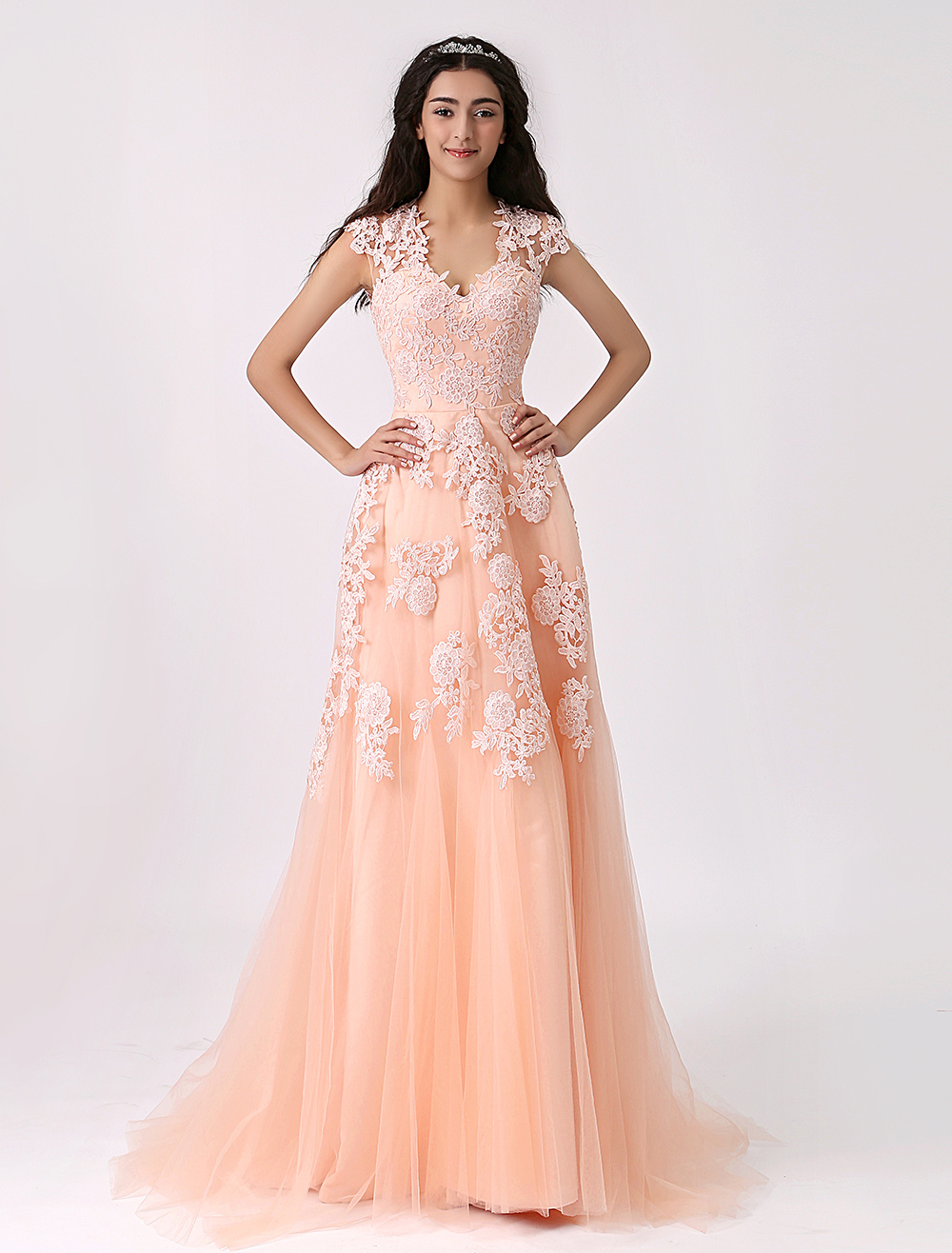 Nude Wedding Dress Lace Applique Spaghetti Straps Bridal Gown A Line Illusion Back V Neck Bride Dress With Train (Pink Wedding Dress) photo