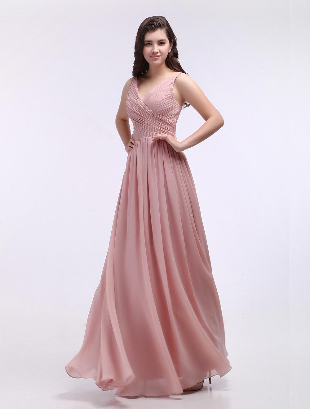 Dusty Pink Bridesmaid Dresses V Neck Ruched Chiffon Nude Grace Bridesmaid Dress (Wedding) photo