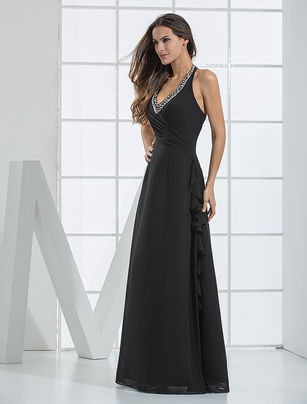 Black Chiffon Halter Bridesmaid Dress with Beaded