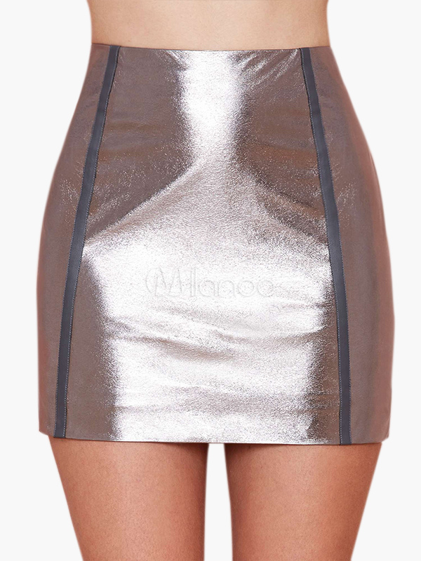 High-waisted Silver Skirt - Milanoo.com