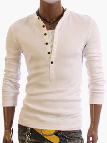 long sleeve t shirt with button up v neck