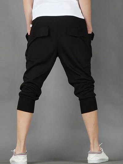 Comfortable Black Cotton Capri Pants Men's Pants - Milanoo.com
