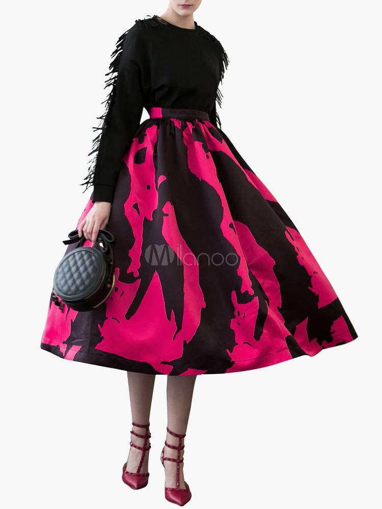 high waisted printed flared tutu skirt milanoo