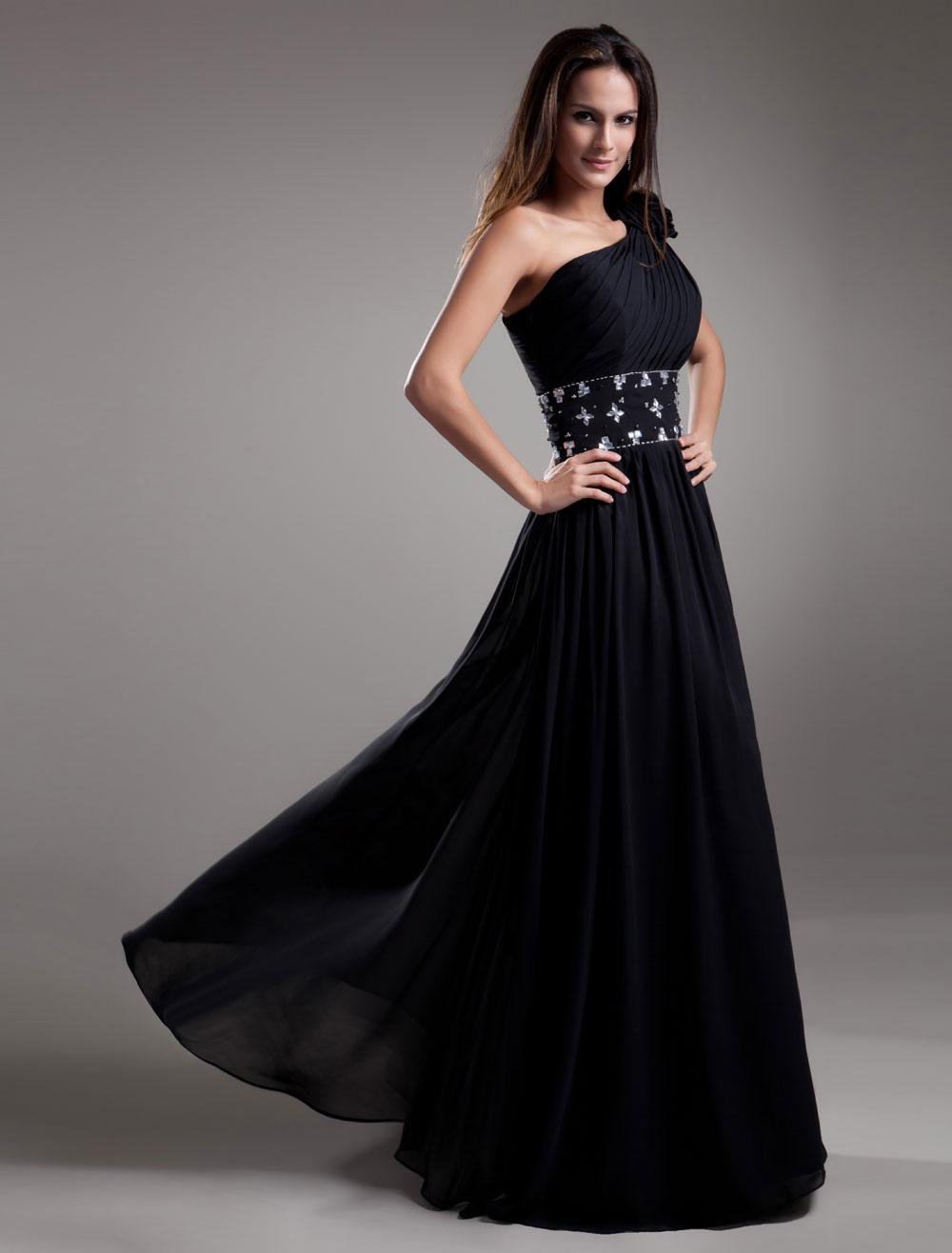 Formal Black Chiffon One-Shoulder Evening Dress (Wedding Evening Dresses) photo