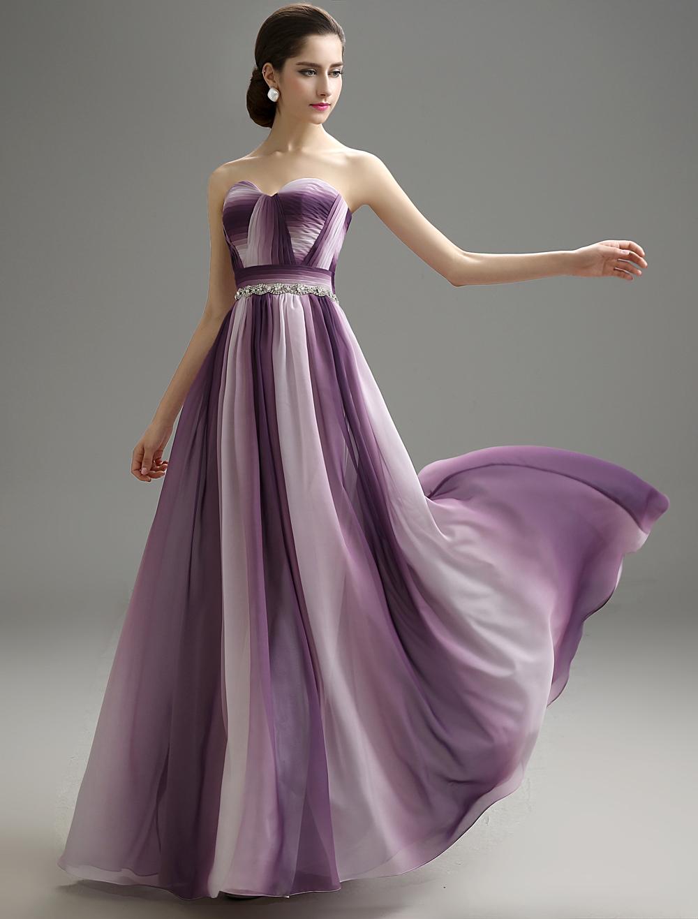 Ombrea Strapless Pleated Chiffon Prom Dress (Wedding Prom Dresses) photo