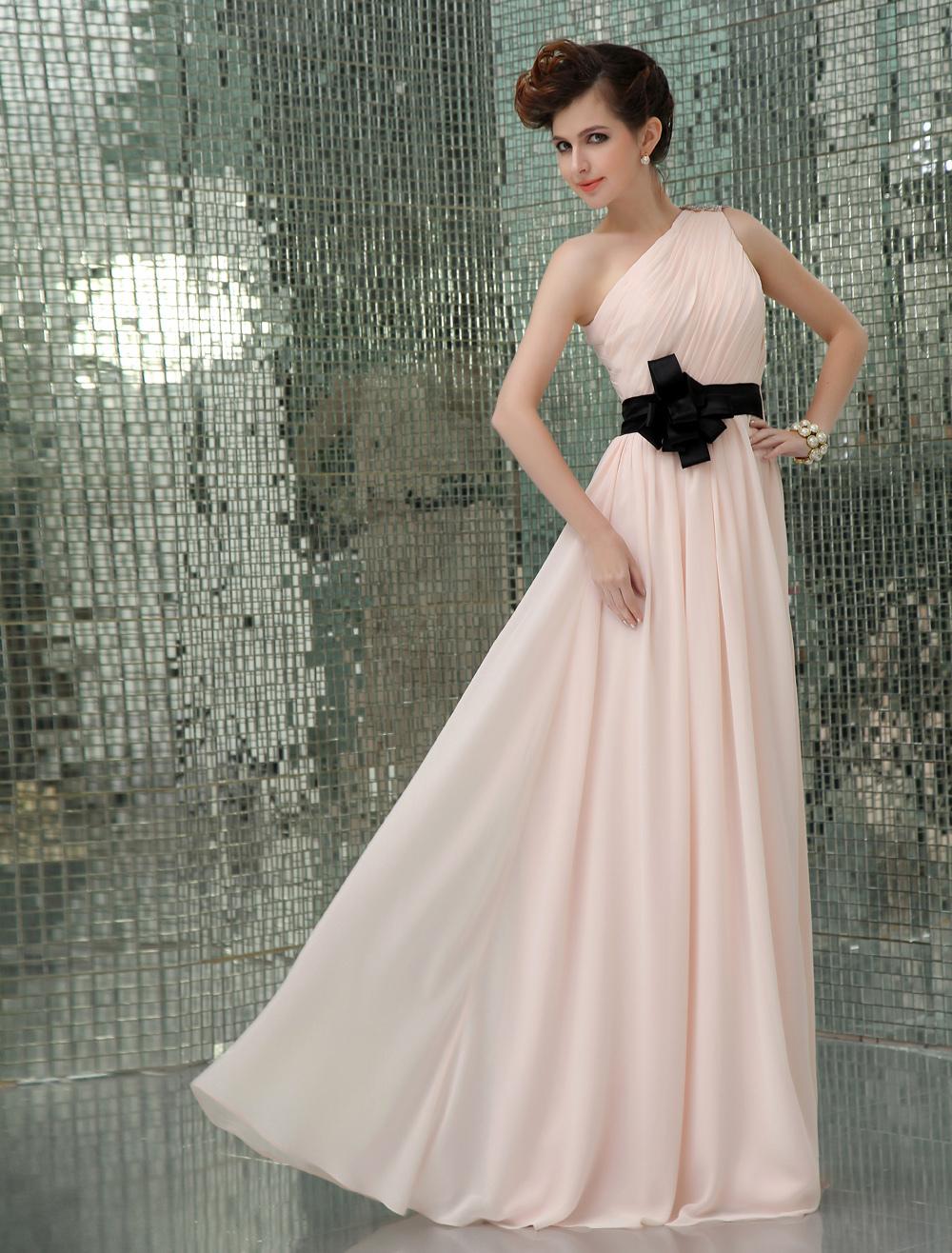 One-Shoulder Sash Evening Dress Wedding Guest Dress (Evening Dresses) photo