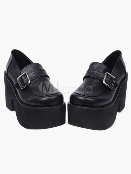 Gothic Black Lolita Heels Shoes High Platform Shoes Strap Buckle Designed steampunk buy now online