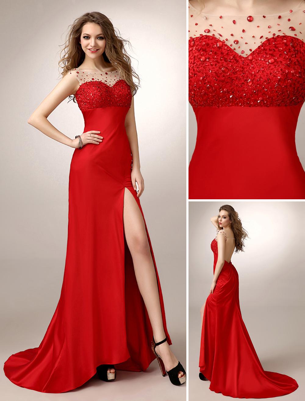 Red Prom Dresses 2018 Long Mermaid Backless Evening Dress Rhinestone Illusion High Split Satin Party Dress With Train (Wedding) photo