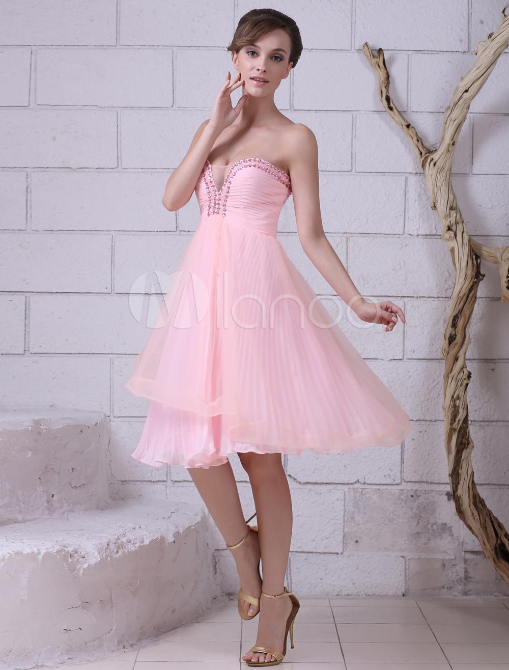 Pink Sweetheart Neck Sleeveless Pleated A-line Prom Dress Milanoo (Wedding Prom Dresses) photo