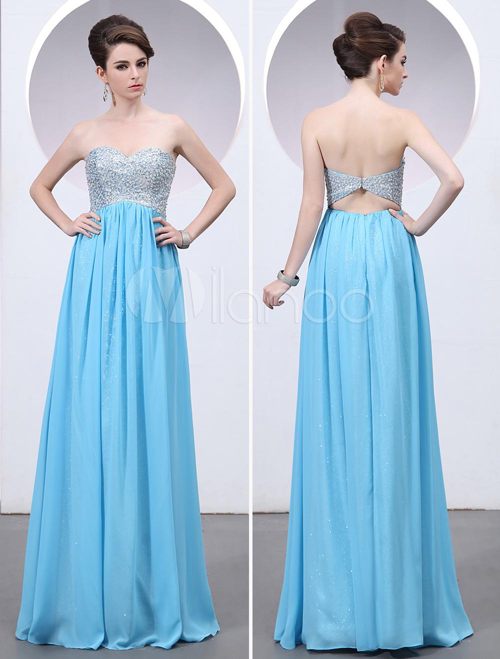 Modern Blue Sweetheart Neck Sequin A-line Chiffon Prom Dress (Wedding Prom Dresses) photo