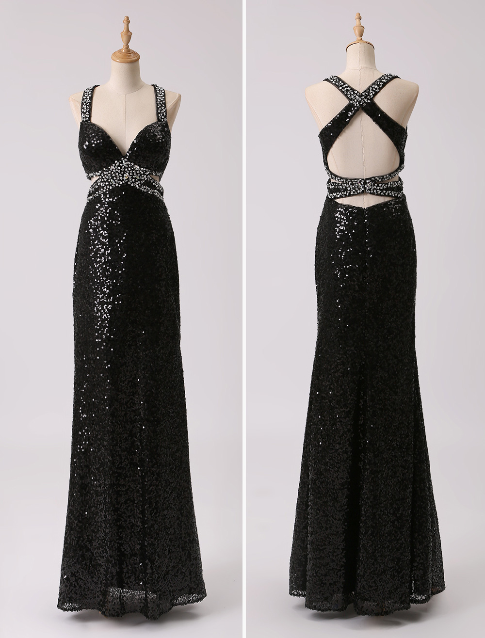Long Black Sequin Evening Dress With Cut Out Waist and Back (Wedding Evening Dresses) photo