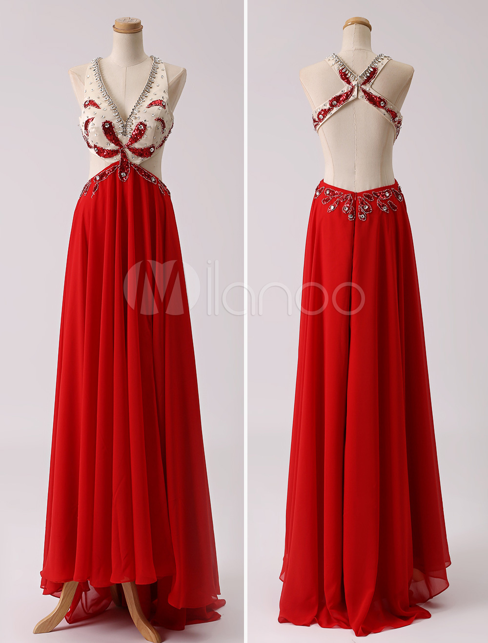Long Red Chiffon Cut Out Rhinestone Prom Dress With Open Back (Wedding Prom Dresses) photo
