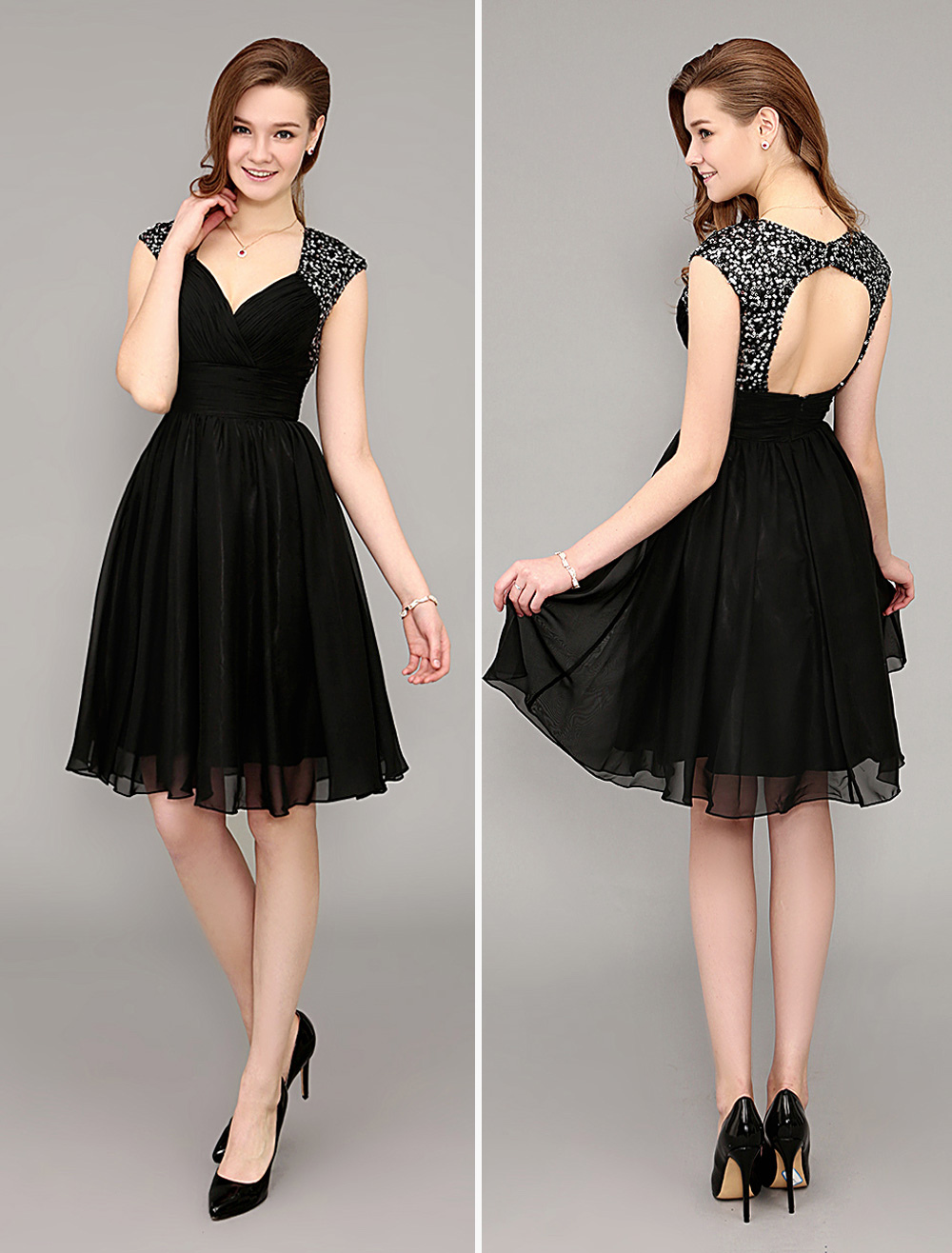 Short Sequined Black Cocktail Dress With Open Back Wedding Guest Dress (Cocktail Dresses) photo