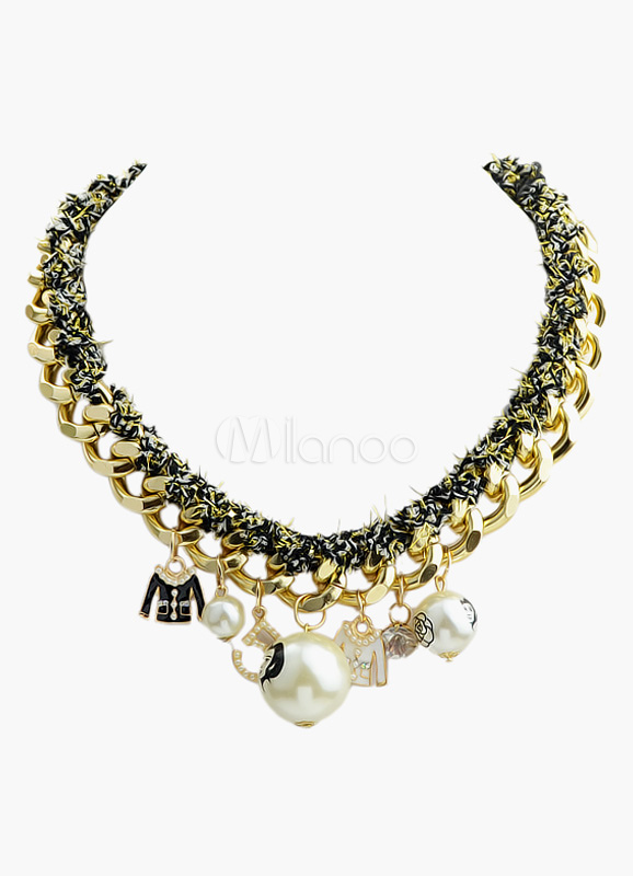 Gold and Black Fashion Pave Link Charm Necklace