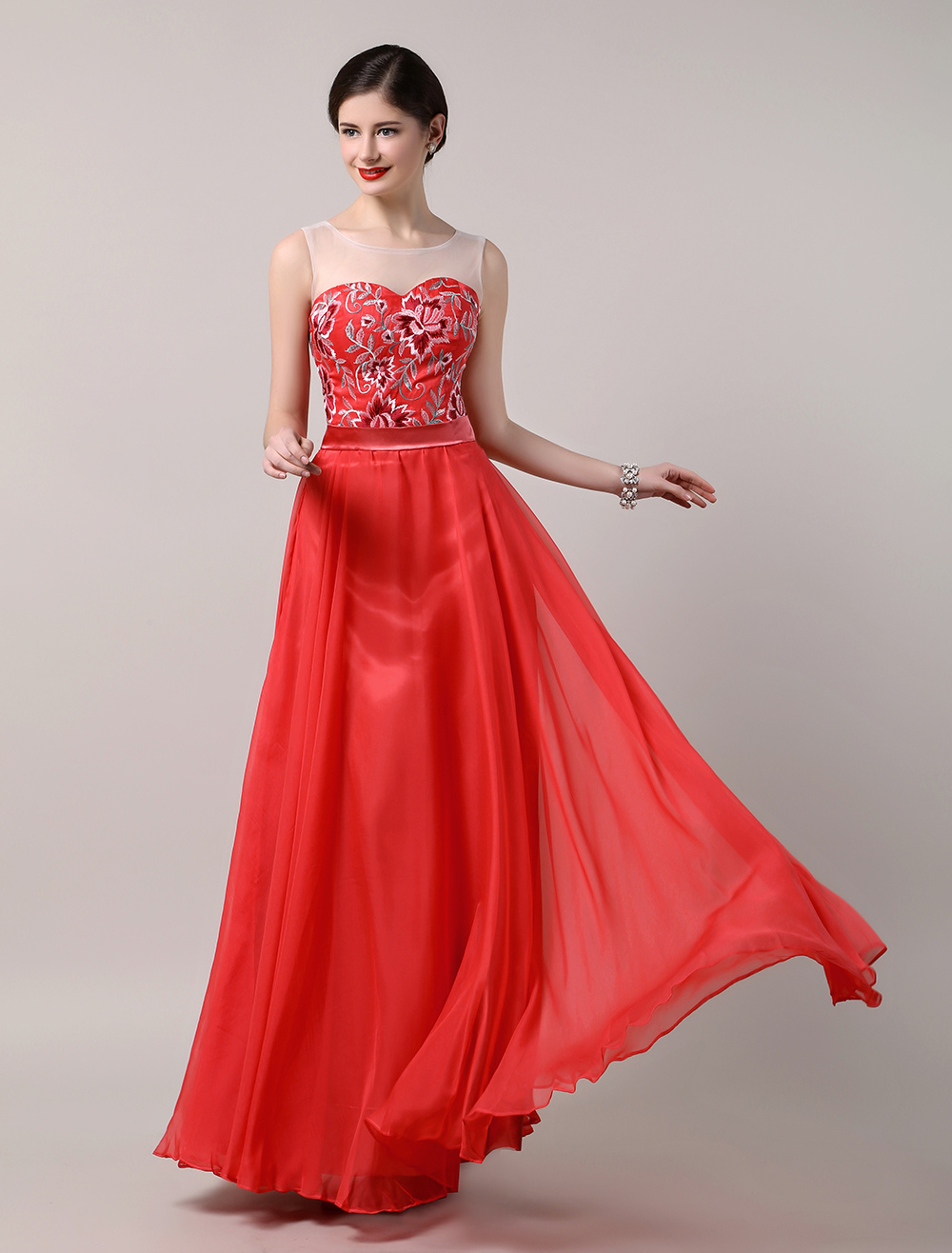 Exquisite Embroidery Red Chiffon Dress with Sheer Tulle Neckline and Back (Wedding Prom Dresses) photo