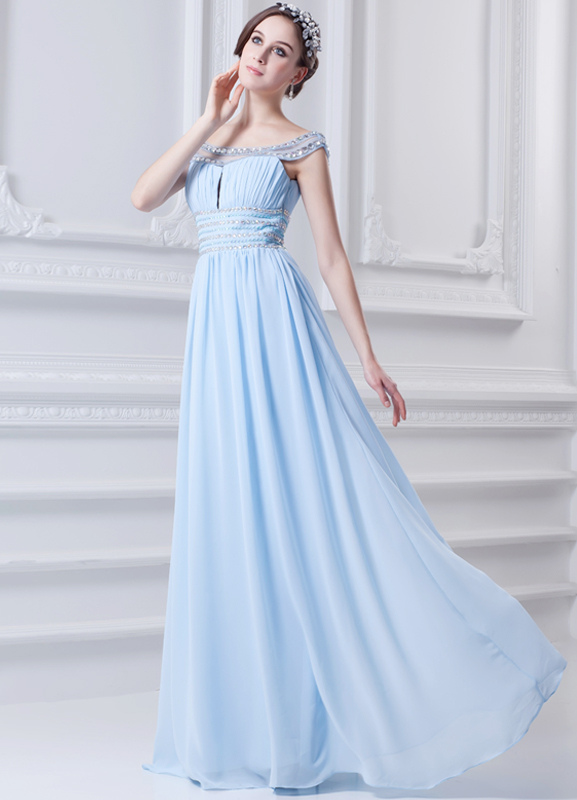 Grace Sky Blue Chiffon Beading Off-The-Shoulder Sexy Evening Dress (Wedding Special Offer) photo