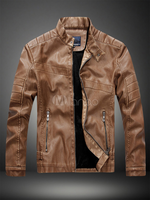 Stand Collar Leather Jacket In Regular Fit Milanoo Com