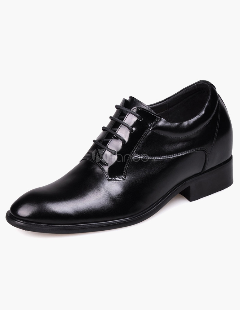 Formal Black Cow Leather PU Sole Men's Lace-Up Taller Shoes thumbnail