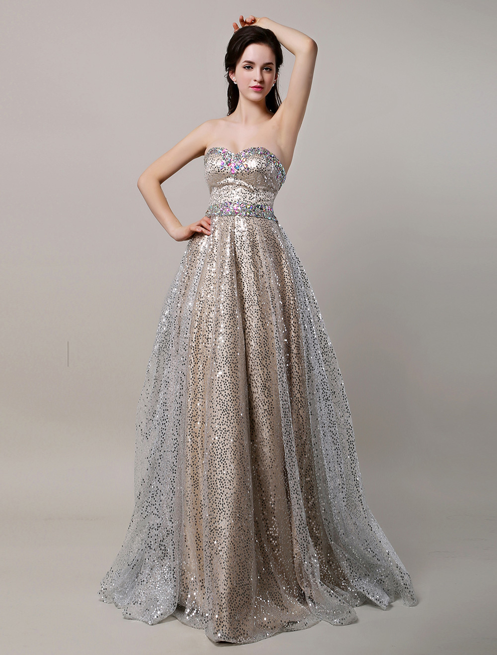 Glitter Long Champagne Sweetheart Sequin Ball Prom Dress With ...