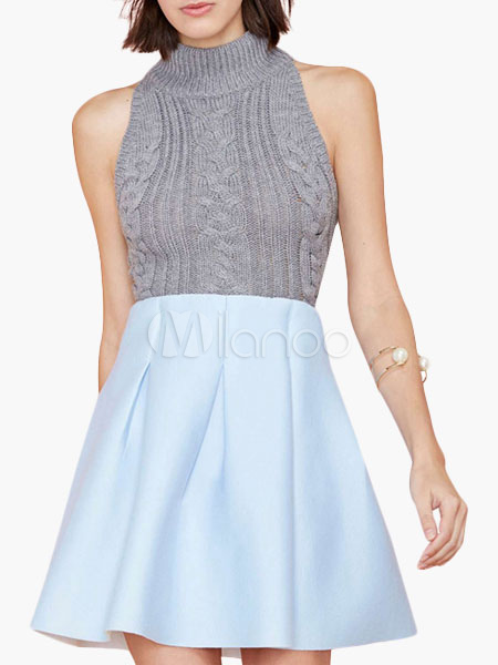 Light Blue High-waisted A-line Skirt - Milanoo.com
