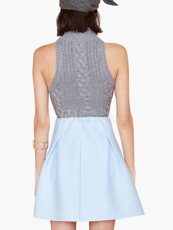 Light Blue High-waisted A-line Skirt - Milanoo.com