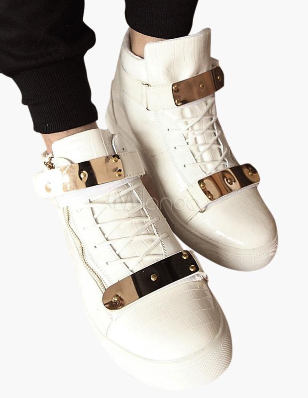 White Monk Strap Leather Sneakers thumbnail