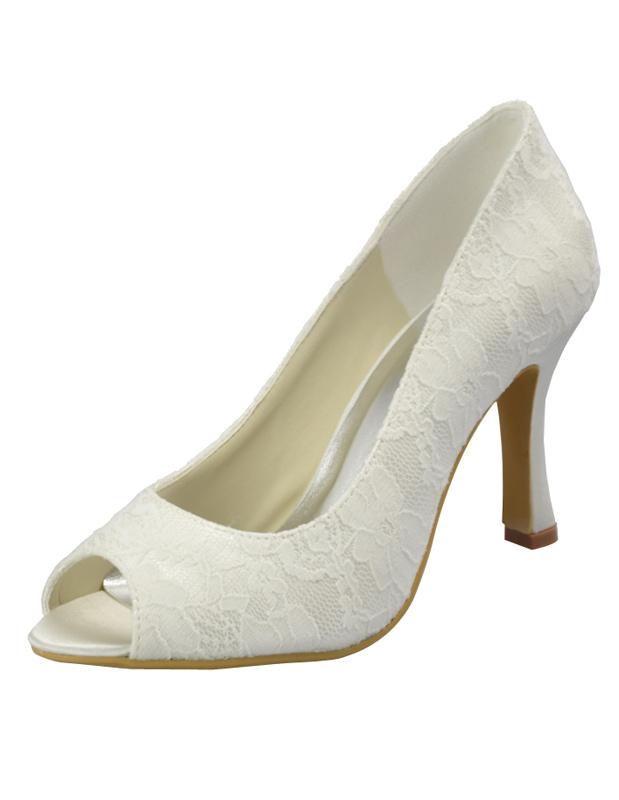 Sweet Ivory Lace Peep Toe High Heel Wedding Pump Shoes