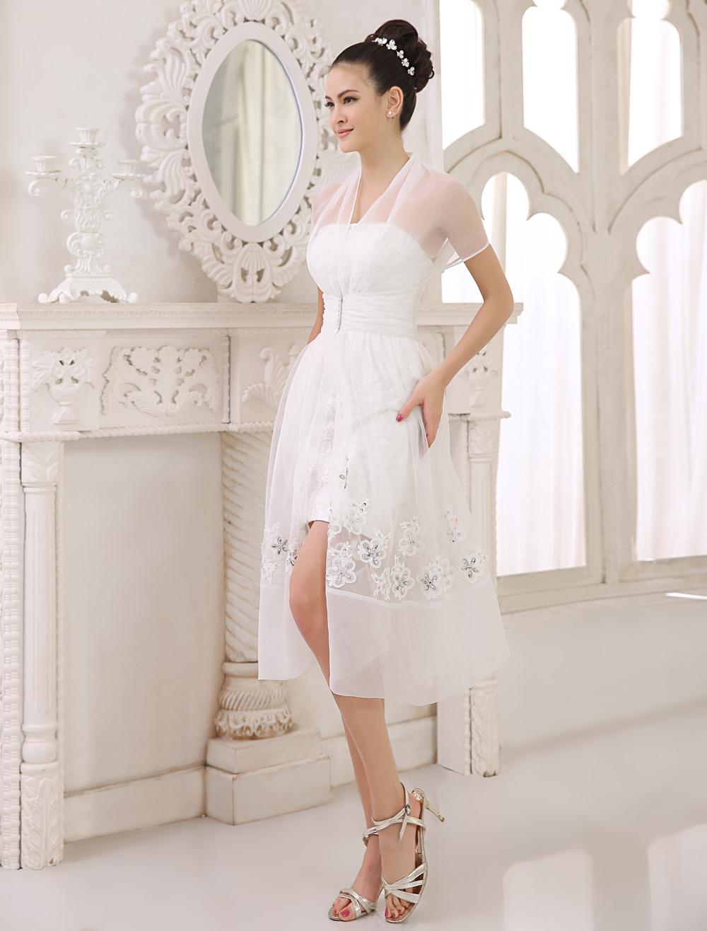 Short Ivory Bridal Wedding Dress with Strapless Neck and Sheath Applique Milanoo (Cheap Wedding Dress) photo