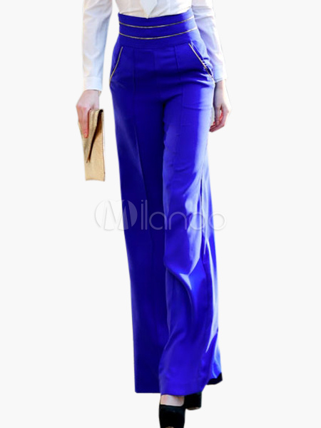 Royal Blue High-waisted Wide-leg Pants - Milanoo.com