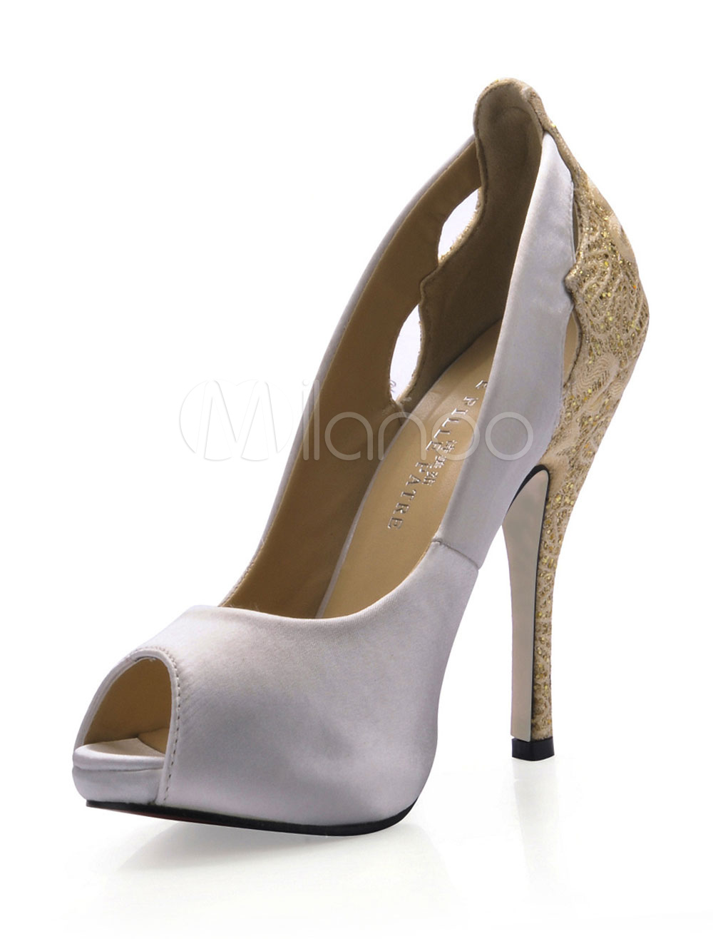 White Embroidery Pointed Toe Glitter Imitated Silk Woman's Peep Toe Pumps