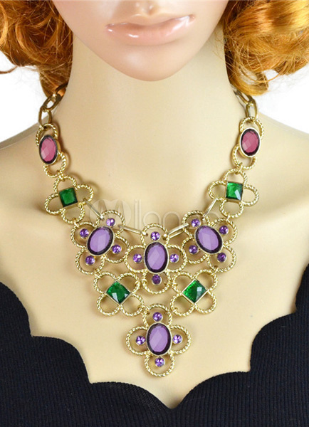 Vintage Twisted Colorful Gemstone Necklace