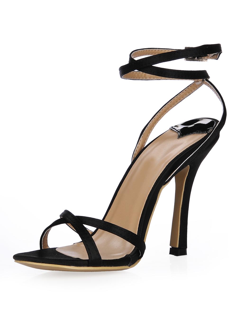sandales talons aiguilles l gantes en fausse soie rubans aux chevilles. Black Bedroom Furniture Sets. Home Design Ideas