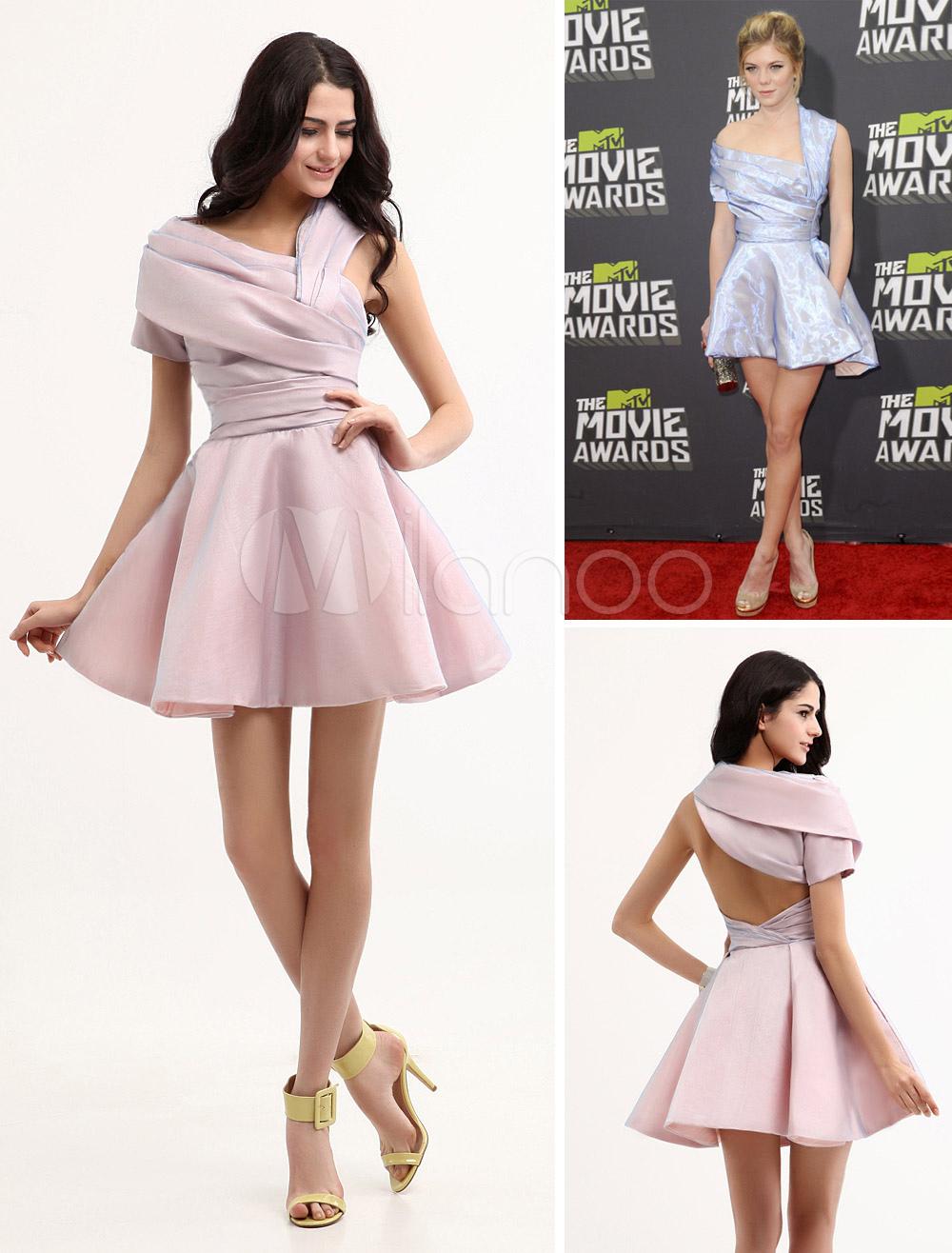 Chic A-line Pewter Taffeta One-Shoulder Short Cocktail Dress