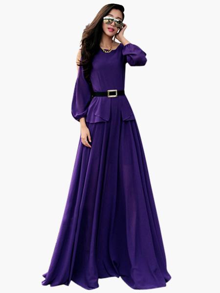 Hottest Long Sleeve Open Shoulder Long Prom Dress (Women\\'s Clothing Maxi Dresses) photo