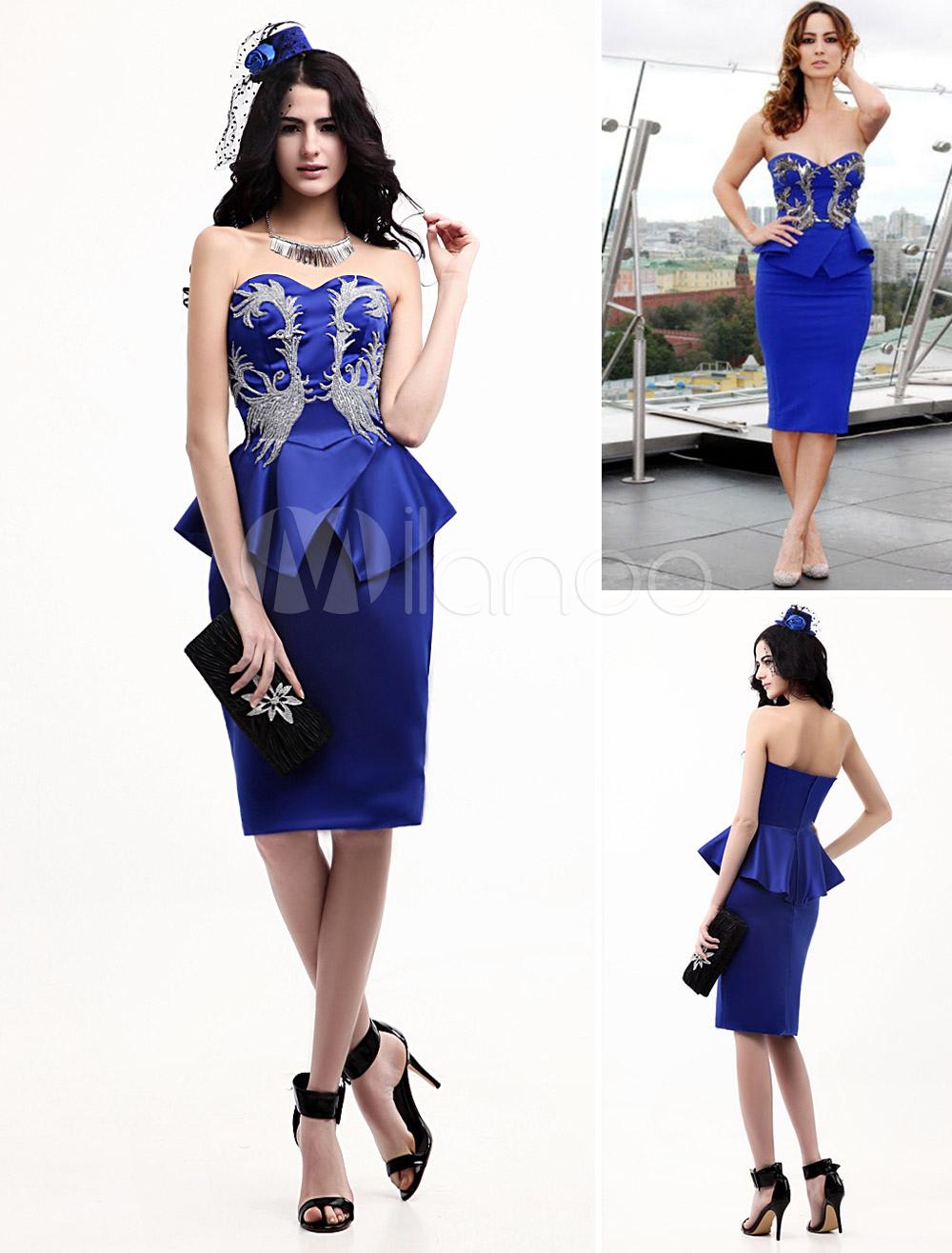 Royal Blue Strapless Applique Celebrity Peplum Dress - Milanoo.com