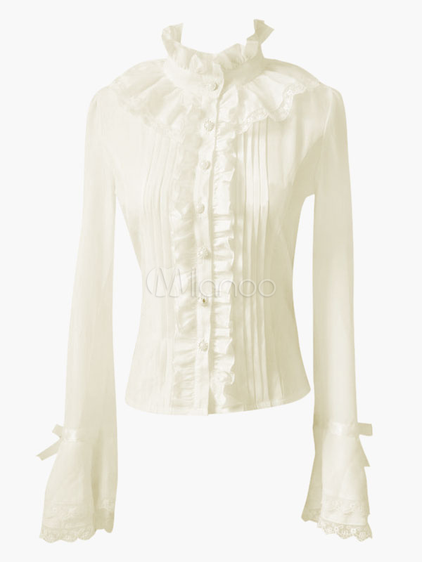 Stand Collar Cascading Ruffled Lace Lolita Blouse ...