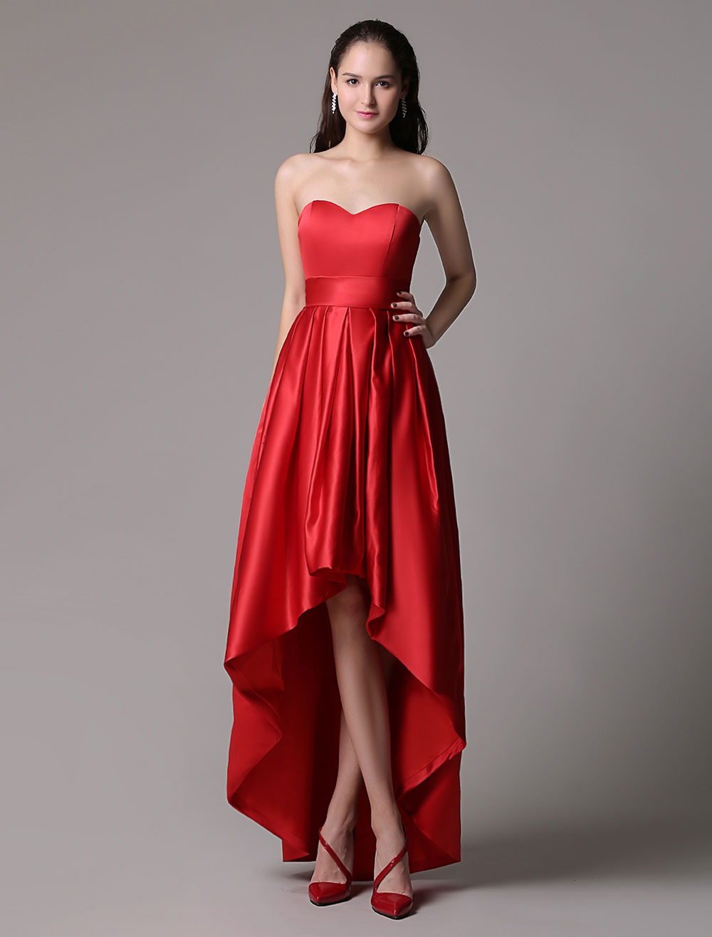Red Prom Dresses 2018 Short Strapless Backless Cocktail Dress Sweetheart Satin Ruched High Low Party Dress (Wedding) photo