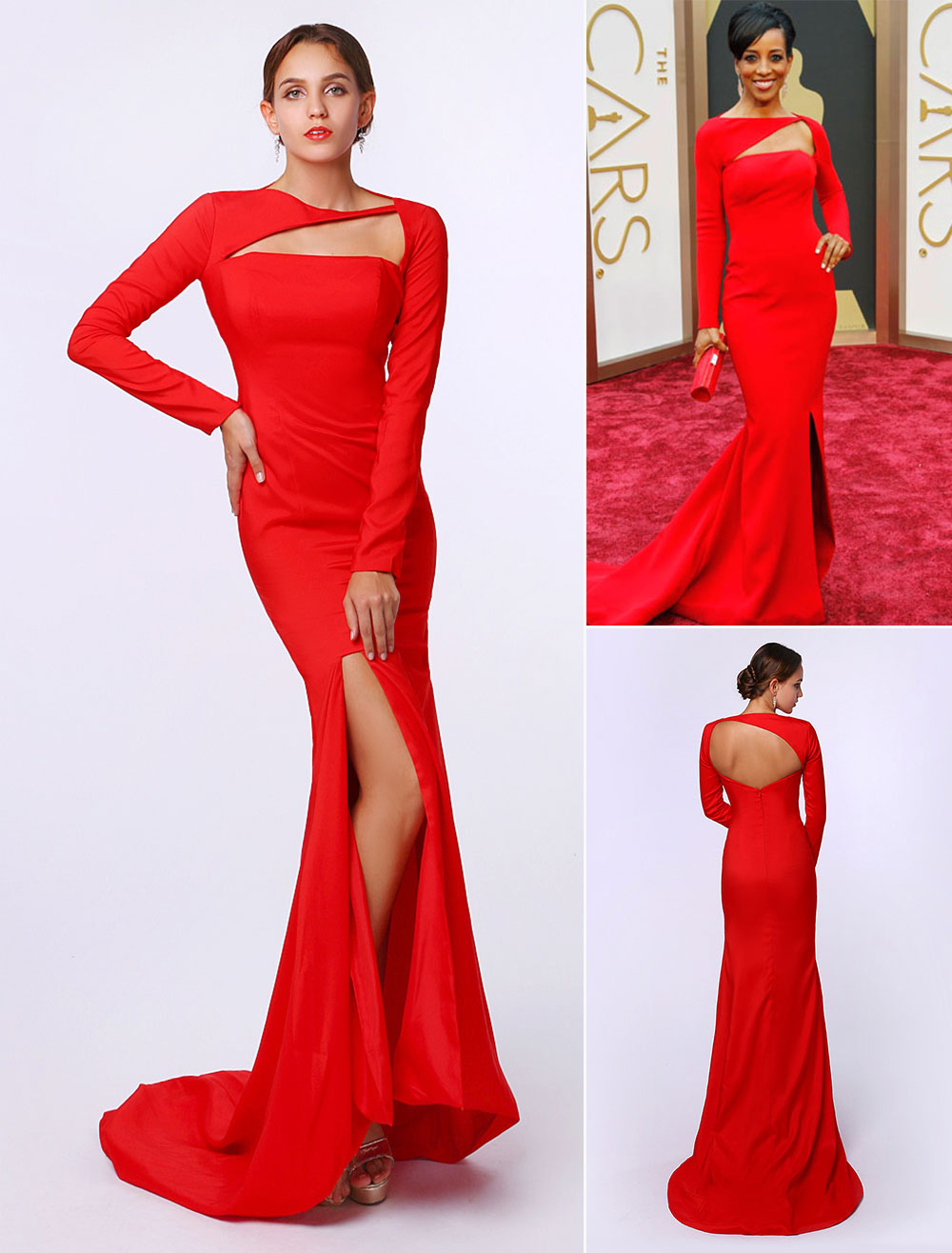 Mermaid Red Elastic Silk Split Sweep Train Evening Dress Inspired by Shaun Robinson at Oscar (Wedding Oscar Dresses) photo