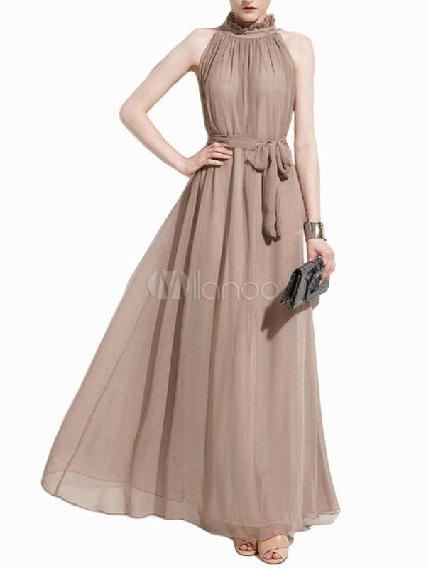 Vintage High Neck Pleated Chiffon Evening Dress (Women\\'s Clothing Maxi Dresses) photo