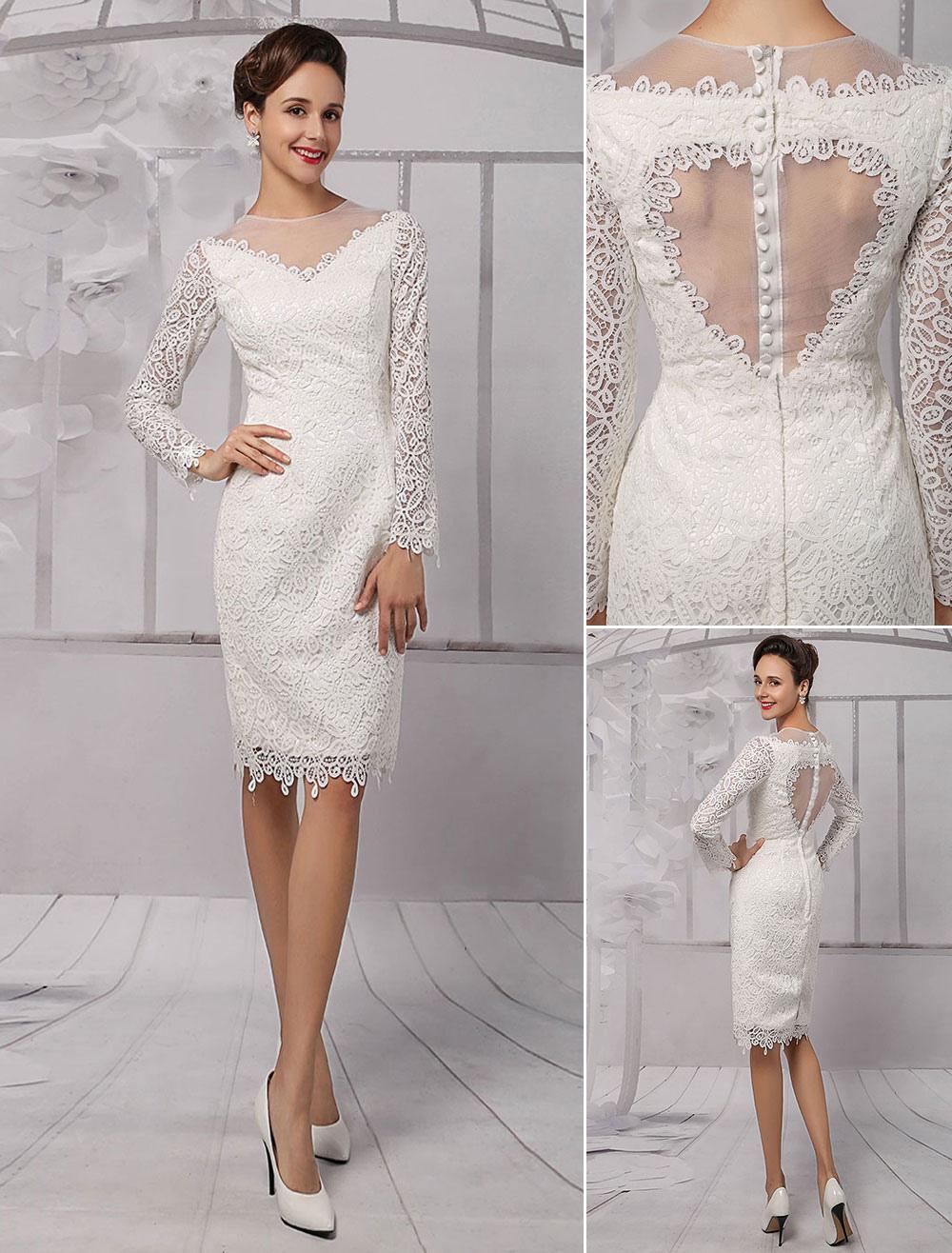 wedding dresses 2018 short long sleeve Illusion Neckline koyhole Knee length Sheath bridal Dress Milanoo (Cheap Wedding Dress) photo