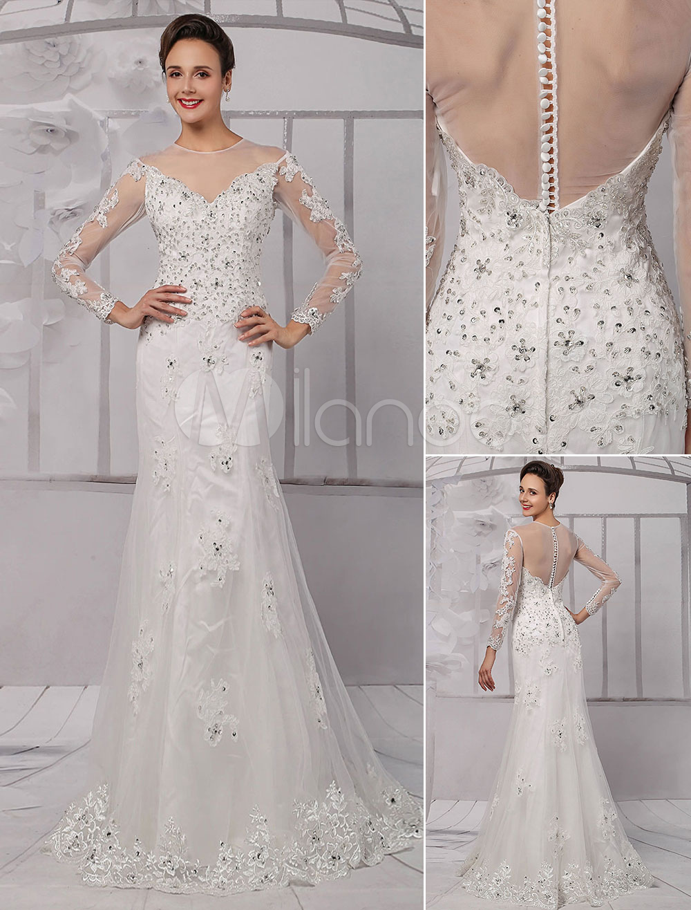 Lace illusion neckline long sleeves knee length sheath for Long sleeve sequin wedding dress
