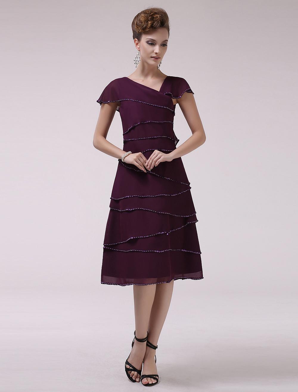 Grape A-line V-Neck Tiered Short Sleeves Chiffon Bridal Mother Dress Wedding Guest Dress photo
