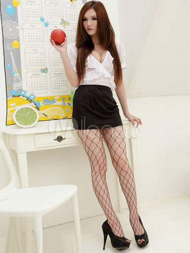 Low Cut Chiffon Sexy Secretary Costume For Women