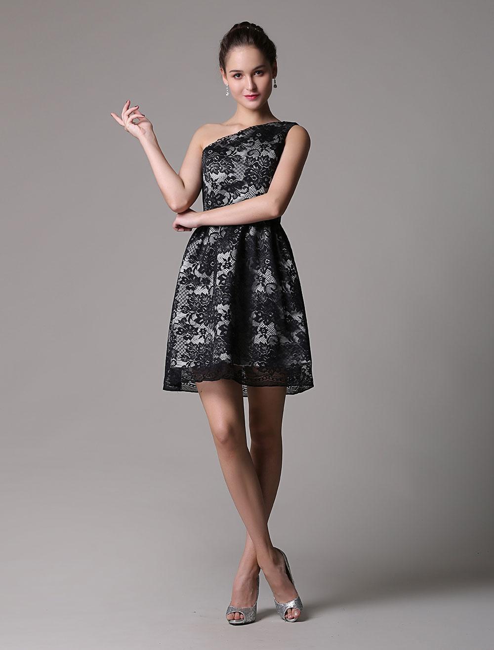 Black Soft Lace One Shoulder Short Dress (Wedding Cheap Party Dress) photo